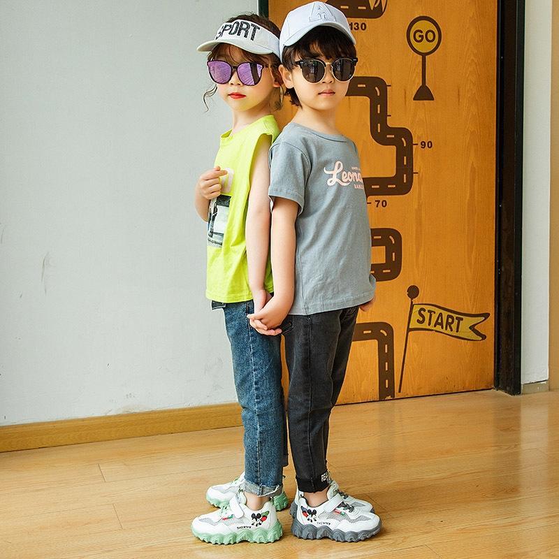 Meninos e meninas de moda inferior respirável única rede de banda desenhada antiderrapante macio moda Esportes Esportes calçados infantis sapatilhas
