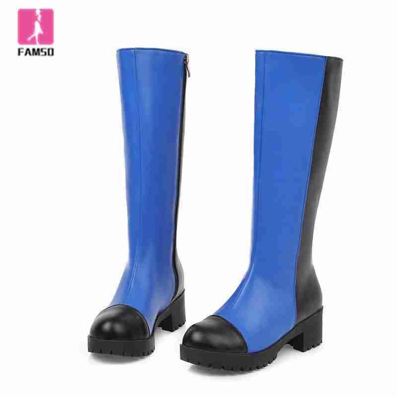 FAMSO 2019 Ayakkabı Kadınlar Çizme Yuvarlak Burun Yüksek Topuklar Diz Yüksek Boots Kış Uzun Motosiklet Patchwork