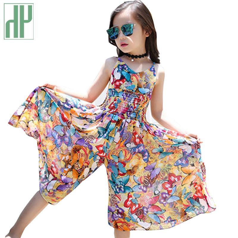 Genç kız elbise Şifon Bohemia kostüm çocuklar kızlar için Elbiseler yaz parti çiçek prenses elbise kızlar 7 10 14 yıl SH190908