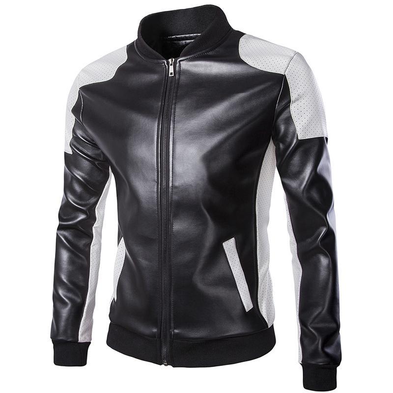 Motosiklet Deri ceketler Erkekler Sonbahar Kış Deri Giyim Erkek Ceket Erkek beyaz gündelik Coats Marka Artı boyutu 5XL