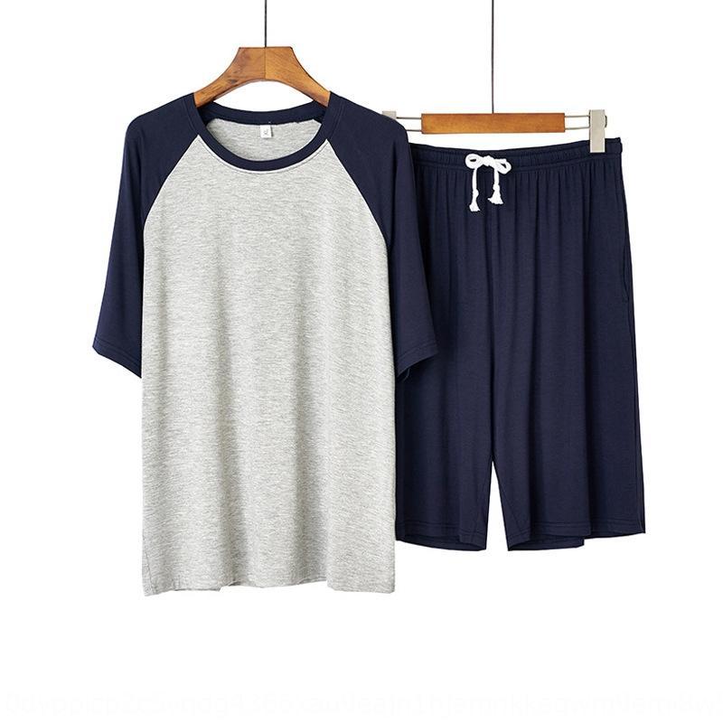 jo6HZ casa pigiama vestiti shorts e pantaloncini modello estate cotone a maniche corte vestiti maschile pigiama di cotone sottili estate casuale è a casa degli uomini di Su