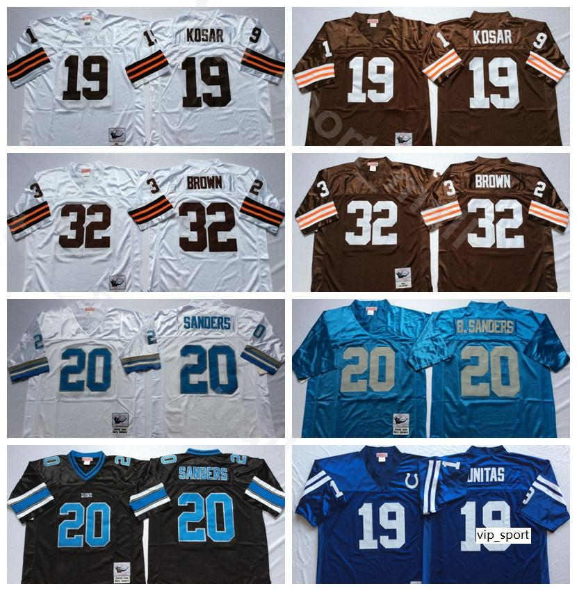 NCAA Football 32 Jim Brown 19 Bernie Kosar Formalar 19 Johnny Unitas Jersey 20 Barry Sanders Adam Vintage Beyaz Mavi Tüm Dikiş İyi