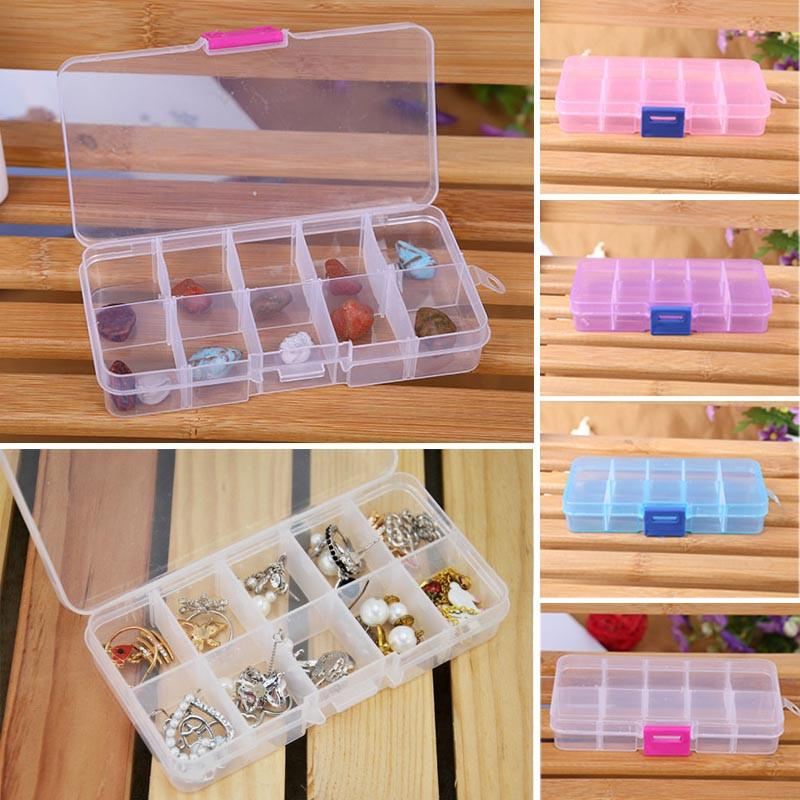 10 Grids Transparent Adjustable for Small Component Jewelry Beads Storage Box Pills Case Organizer Nail Art Tips Containers #30