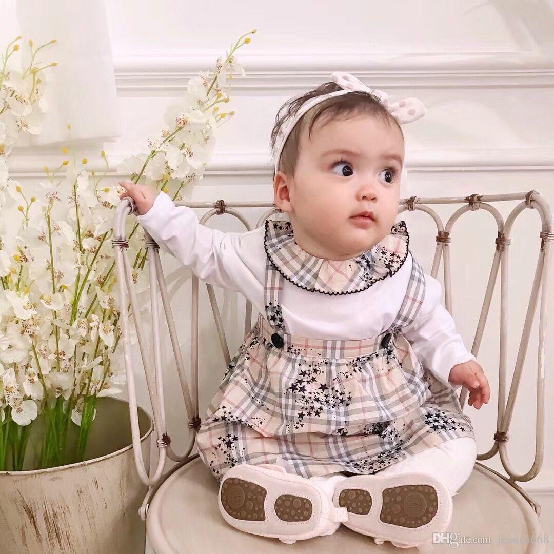 Бесплатная доставка Baby Girl ползунки весна осень лето новорожденного детская одежда 100% хлопок новорожденного комплект одежды ползунки + детское платье