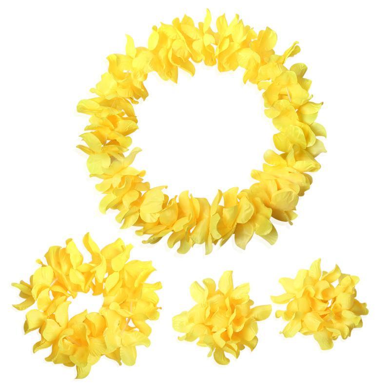 4pcs / Set Hawaii Çiçek Leis Garland Kolye Fantezi Elbise Parti Hawaii Beach Bezi İçin Doğum günleri, partiler, süslemeler