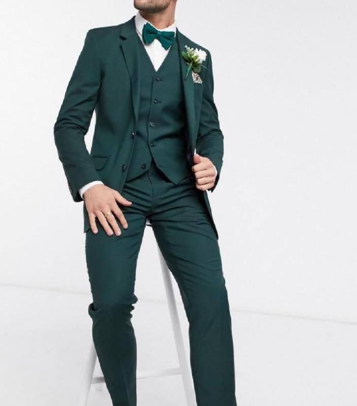 جديد الموضة وصول اثنين زر أخضر داكن العريس البدلات الرسمية رفقاء أفضل رجل الدعاوى دعاوى الزفاف السترة (سترة + سروال + سترة)