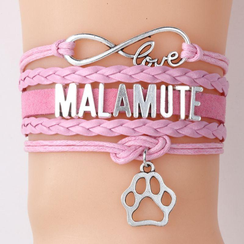 Malamute cão Pulseiras Raça presente Jóias Paw encanto pulseiras trançadas