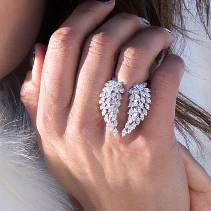Köpüklü Vintage Moda Takı 925 Gümüş Tam Markiz Kesim Beyaz Topaz cz pırlanta Yüzük Kanat Wedding Tüy Ayarlanabilir Yüzük