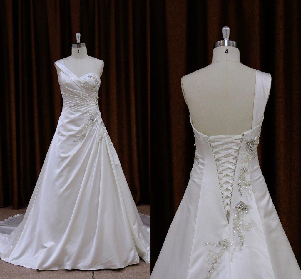 2019 Blanc Satin Une Epaule Robes De Mariée Perles Cristal Perlé Pleats Drapé À Lacets Robe De Mariée D'invité De Mariée Robes De Mariée Sur Mesure