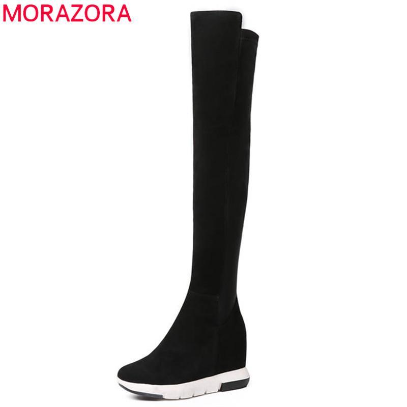 MORAZORA 2020 en kaliteli inek süet deri çizme kadınlar yuvarlak ayak seksi uzun çizmeler yüksek topuklu ayakkabılar kadını takozlar uyluk