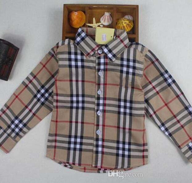 Boys Shirt Children Plaid Long Sleeve Single Breasted Shirts England Style Kids Designer Brand Clothes For Boy Tops