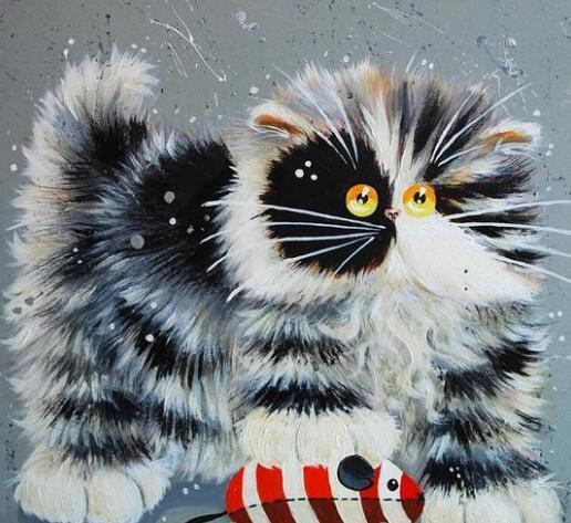 Gato loco - Pintura por Números Kits Para adultos de bricolaje pintura de la lona de arte Dibujar sobre lienzo decoración casera moderna pintura hermosa de Números