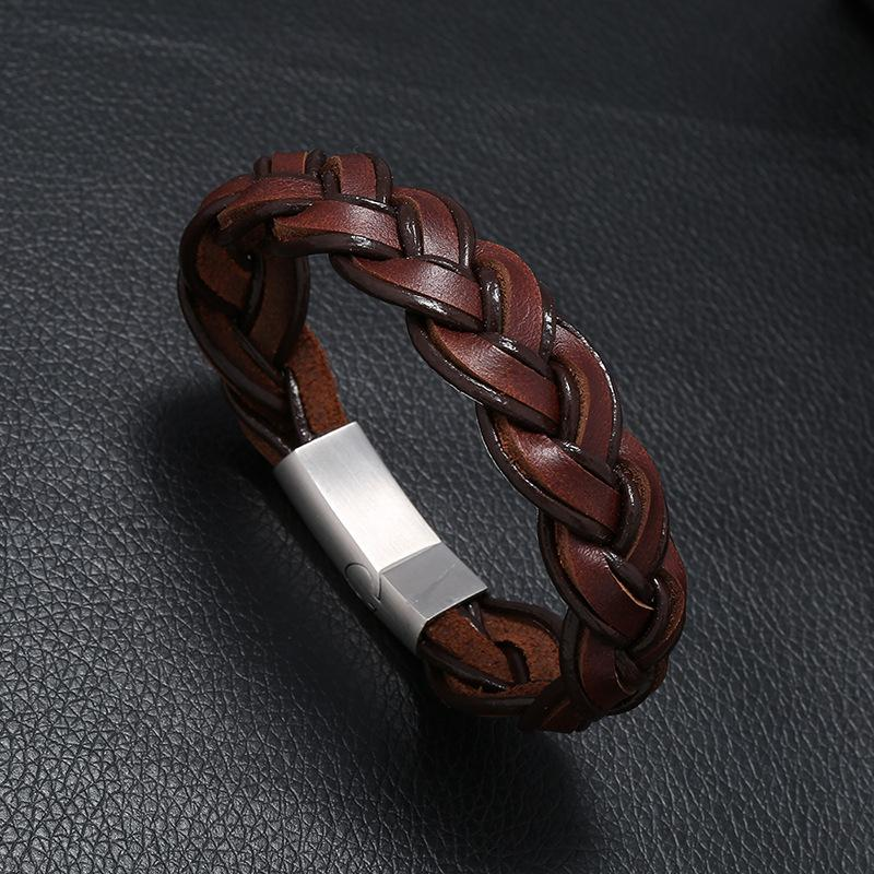 Man pulseira de couro trançado de 20,5 centímetros Jóias Mulheres couro natural Aço Inoxidável Manget Buckle Pulseiras Pulseiras Mens'