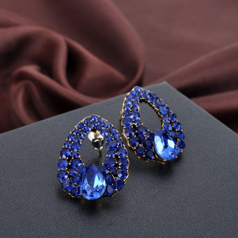 2019 Мода Brincos Perlas Новые девушки Earing Bijoux синий циркон серьги для женщин Свадебные ювелирные изделия серьги One Direction
