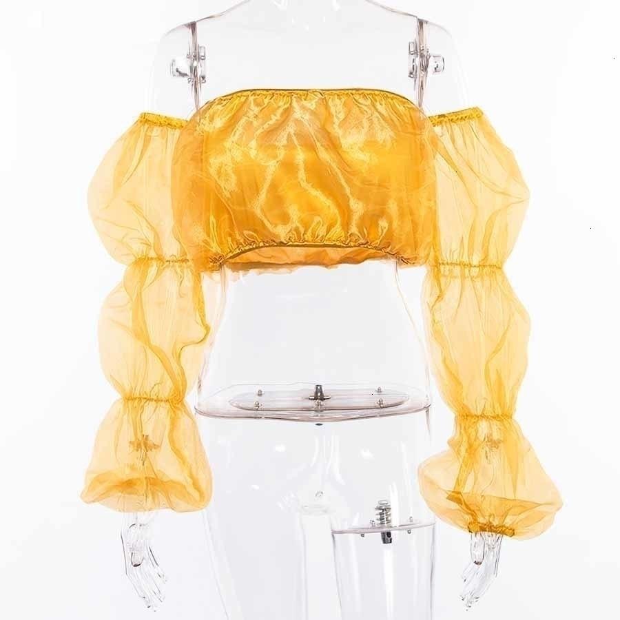 Топы для женщин Топы для женщин Sexy желтый Обрезанные Повседневный Top Feminino плеча сетки Solid Crop Популярные Новые