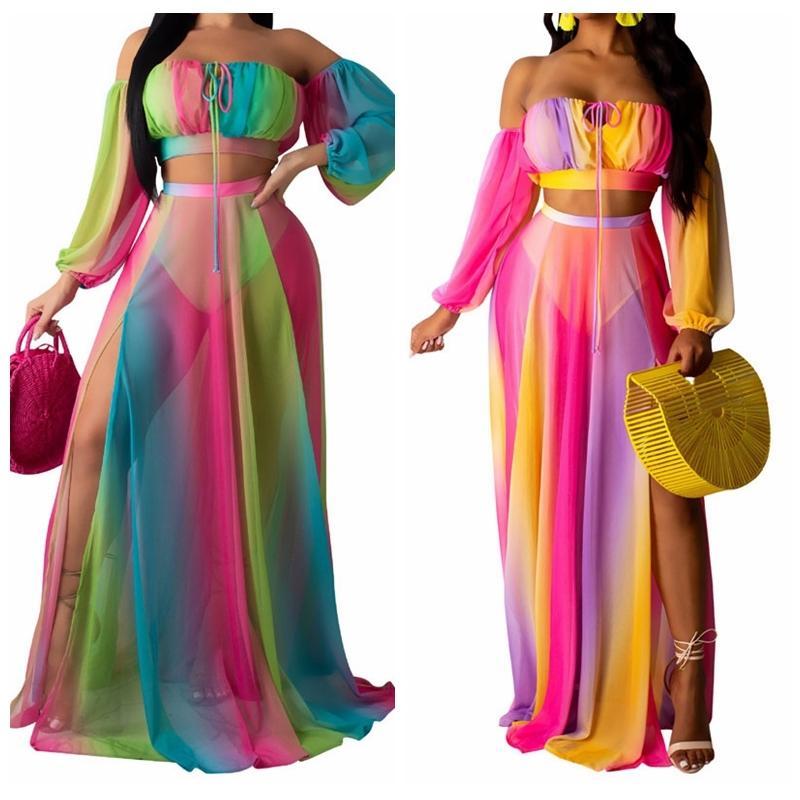 2019 Plaj Cover Up renkli şifon Mayo Plaj Elbise Bayan Mayo Bikini Kapak-Ups Plaj Giyim Tunik Robe Plage 2PCS / SET T200601