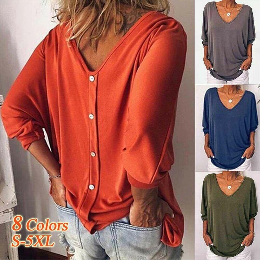여자의 다시 단추 크루 넥 티셔츠 긴 소매 느슨한 캐주얼 블라우스