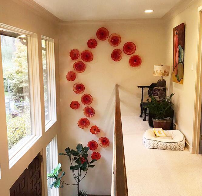 Yüksek Kaliteli Kırmızı Çiçek Cam Plaka Murano Lambaları Sanatlar Villa Otel Dekorasyon Duvar Sanatı Asılı Plakalar
