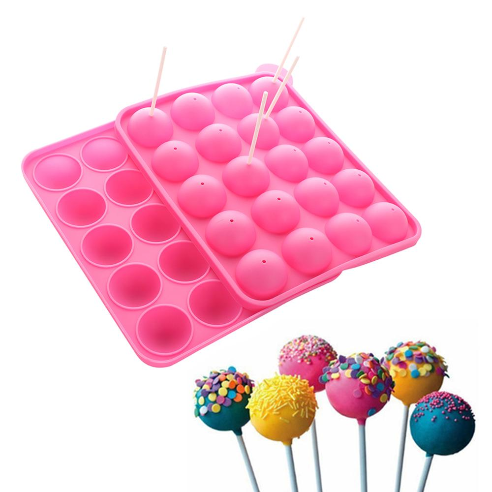 1PC 20 Holes Chocolate Ball Cupcake Cookie Candy Maker DIY Baking Tool Silicone Pop Lollipop Mold Stick Tray Cake