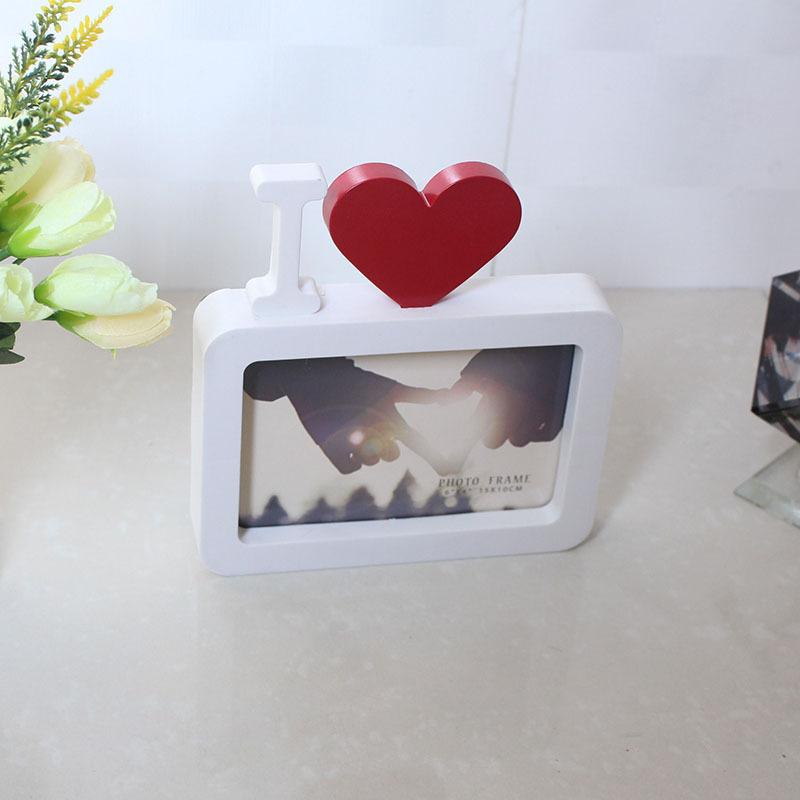 6 Inch Red Heart Love Frame Nordic Cartoon Photo Couple Creative Home Pendulum Flat Simple Wedding Centerpieces Picture Frame