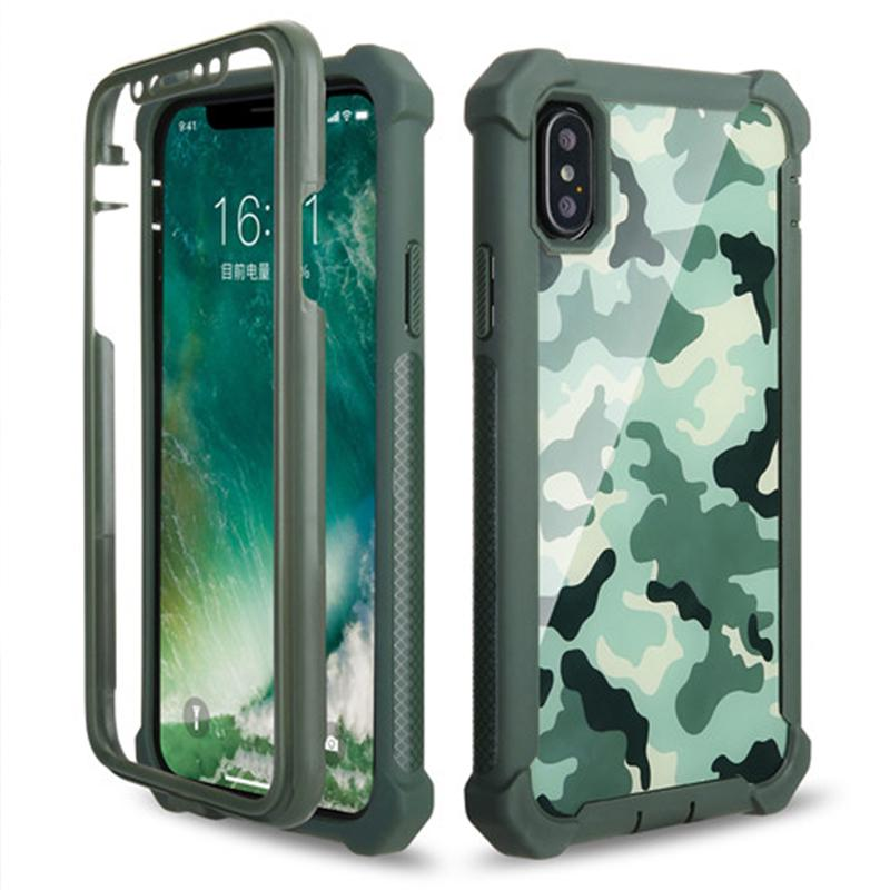 Stoßfeste Rüstung Camo-Handyhülle für iPhone Xs XsMax Xr X 6 6S 7 8 Plus Camouflage Case