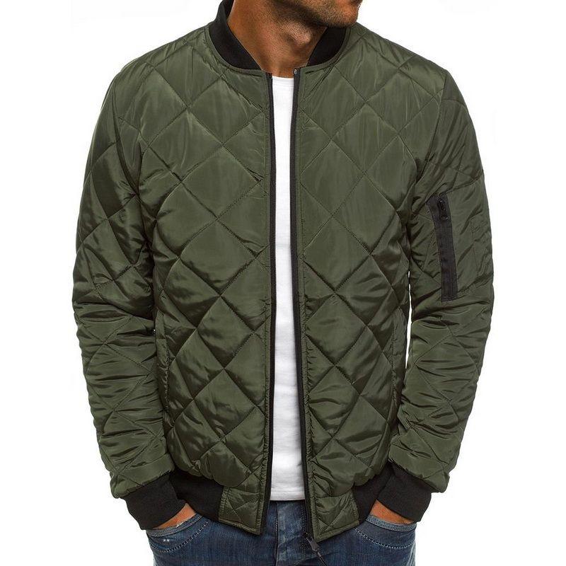 2019 Jacket Men Slim Fit Warm Coats Solid Color Jackests Outwear Autumn Winter Men's Lightweight Windproof Packable Jacket