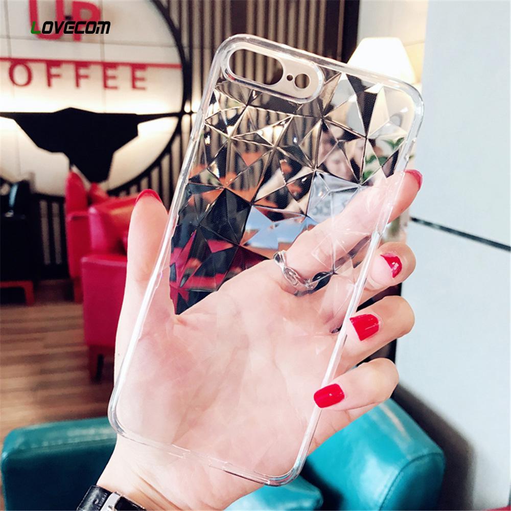 Пользовательские LOVECOM Прозрачный Алмазный Texture чехол для iPhone 11 Pro Max XS Max XR X 6S 6 7 8 Plus Full Body Soft TPU Задняя крышка телефона