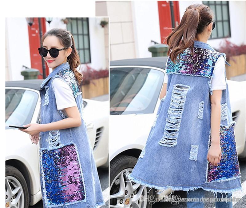 여름 여성 디자이너 진 조끼 스팽글 데님 코트 봄 여름 여성 자켓 라이트 블루 여성 코트