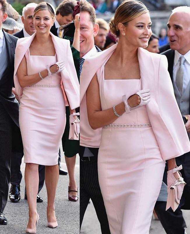 Светло-розовый Мать невесты платье с Wrap Колено атласная свадебное платье для гостей квадратным вырезом бисером Матери Формальные Вечерние платья 123