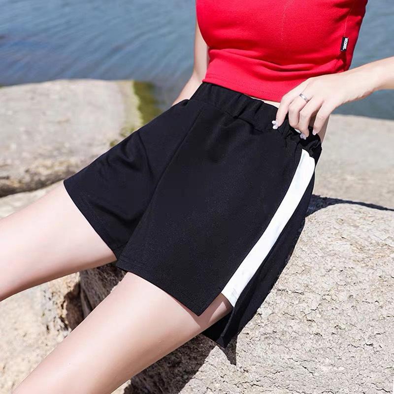 Predellino Breve Harajuku allentata dolce a strisce elastiche Donne Vita a corto donne Tasche Estate stile coreano signore dolci