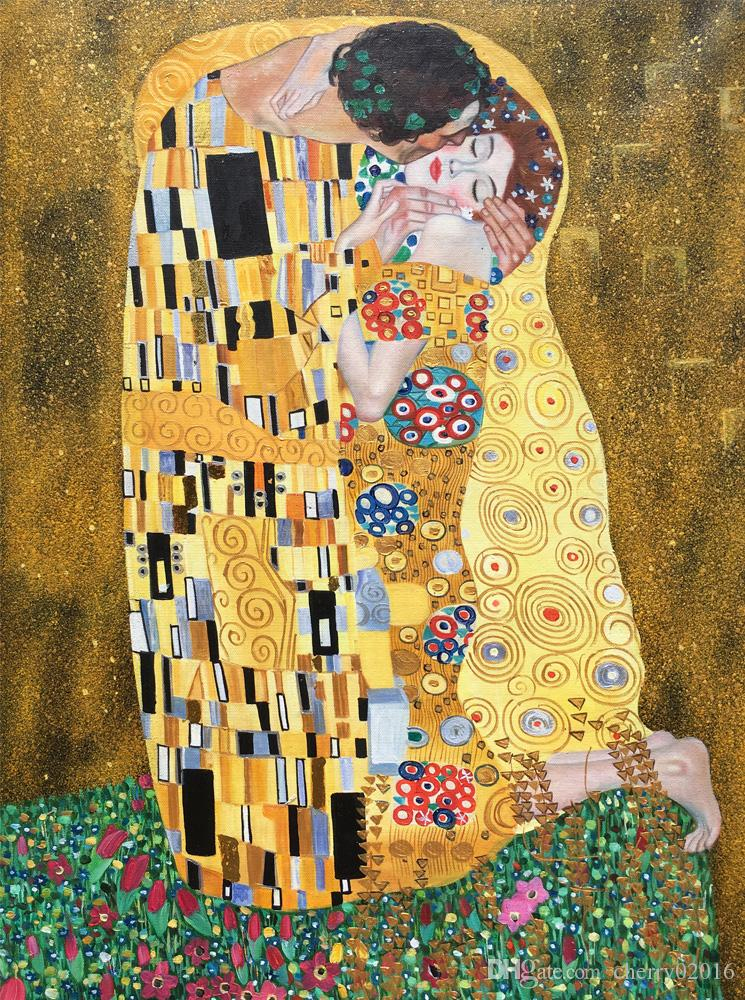 Gold leaf Gustav Klimt oil paintings The kiss The Lovers art on canvas Hand painted beautiful artwork for living room bedroom wall decor