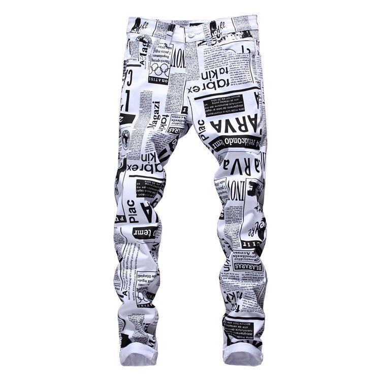 Été nouveaux imprimés Casual Letter Stretch Jeans Hommes Hip Hop Fashions Streetwear Slim Fit White Denim Pantalon Homme Jogger