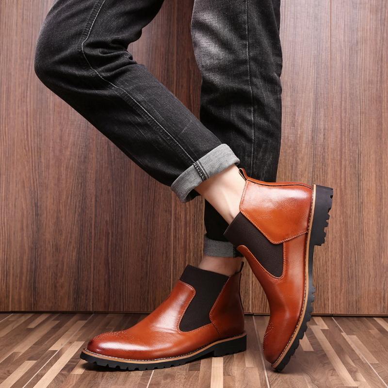 DIHOPE New Bottes hommes en cuir véritable Decent hommes cheville d'origine Homme court Chaussures Casual style britannique Automne Hiver