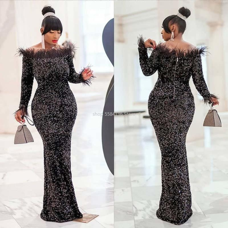 Sexy Slash Neck Sequins Velvet Dress African Clothes Women Bodycon Dress Long Sleeve Feather Collar Bandage Evening Party