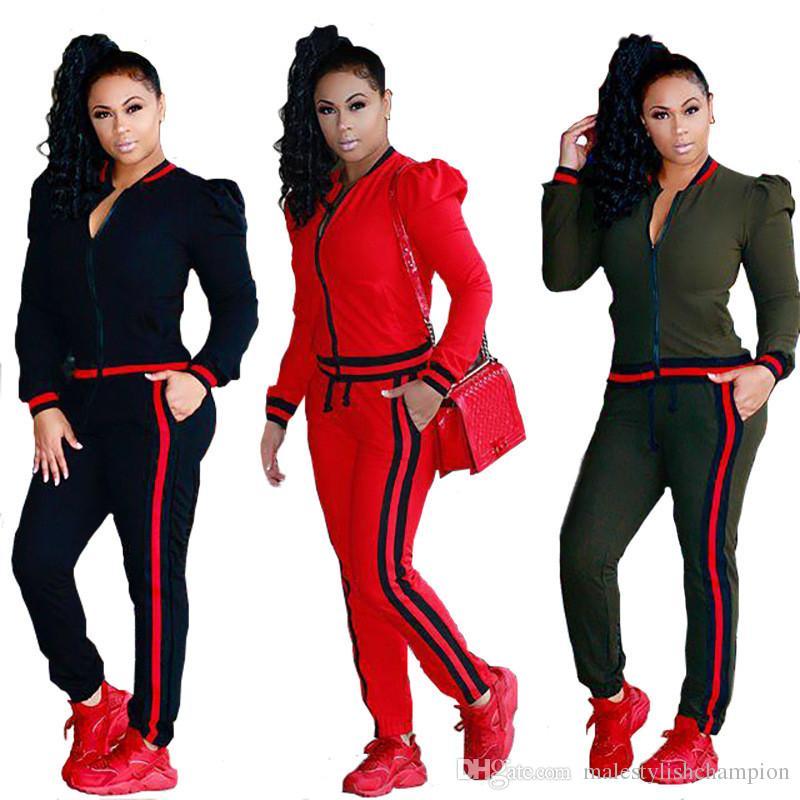Ruban pour femmes deux pièces Tenues lanterne manches Sexy Ladies 2PCS Sport Mode Ensembles Skinny Solid Color Femmes Survêtements