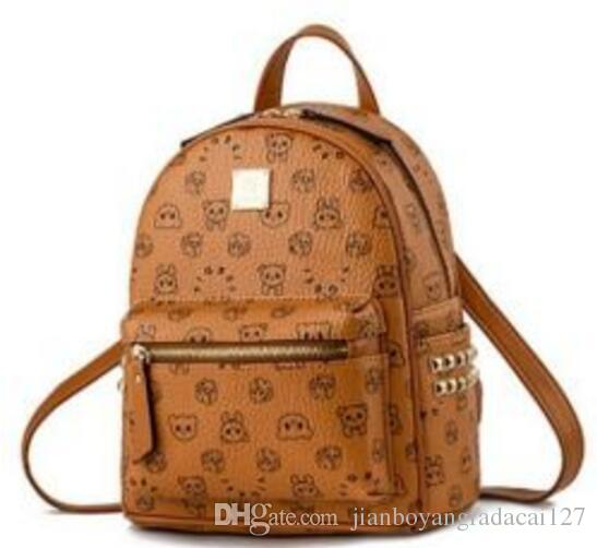 2025 hot Vintage Women Backpack Pu Leather School Bag For Teenagers Punk Rivet Female Travel Bags Black Bolsos Mujer
