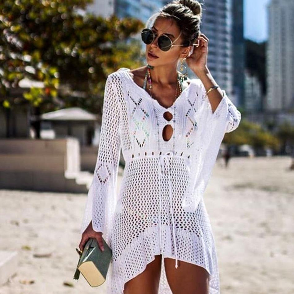 2019 Suits copertina sexy bikini Fino a maglia Crochet Beach Cover Up Women Swimsuit Cover Up Beach vestito di bagno occultamenti Beachwear
