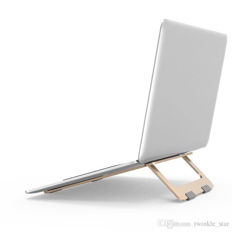 Aluminum Alloy Notebook Stand Notebook Cooler Office Computer Stand Radiator Folding Portable Radiator Color : Gold