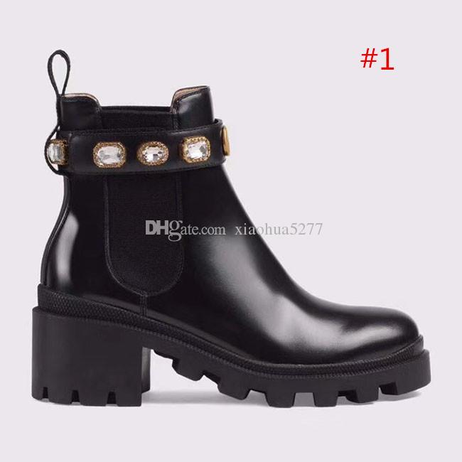 2019 high quality Woman's Leather shoes Lace up Ribbon belt buckle ankle boots factory direct female rough heel round head autumn winter Mar