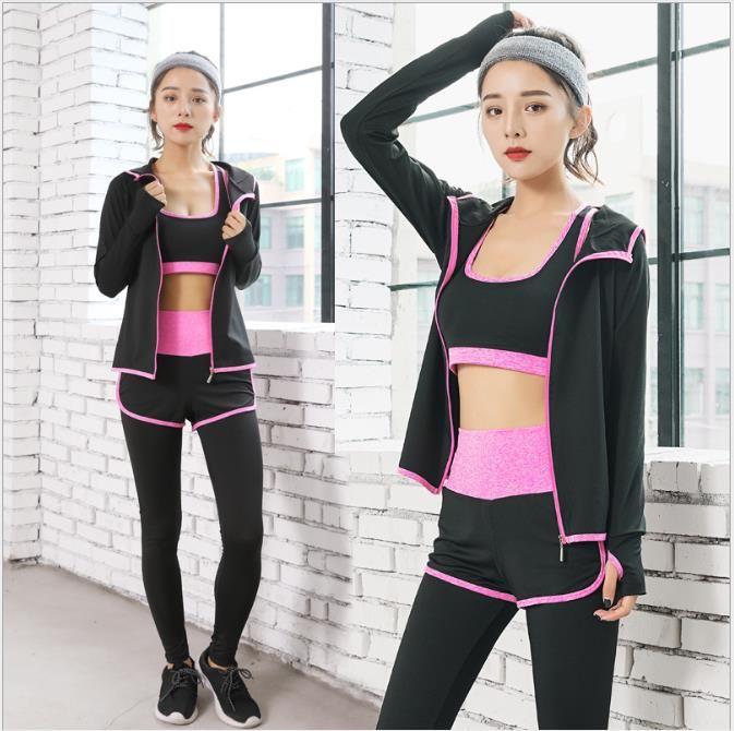 Printemps et été Nouveaux vêtements amincissants à séchage rapide pour la course sportive Tenue de yoga fitness cinq pièces pour femme
