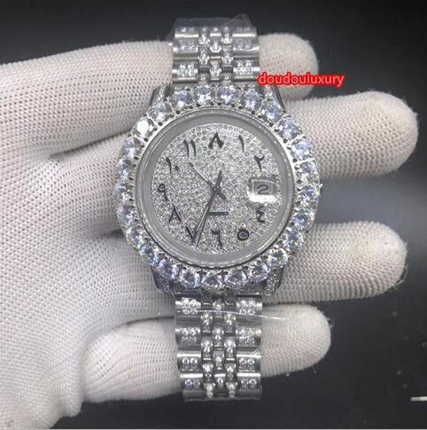 Aço inoxidável Moda Watch Diamante do Prong Set Homens Diamante Boutique Assista Árabe Scale Digital Calendário Relógio Mecânico Automático