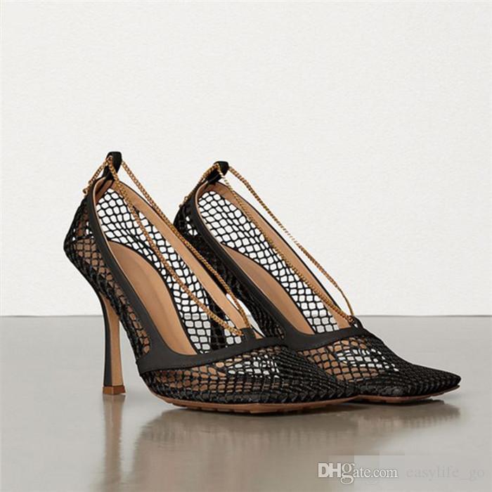 Sıcak satış Kadın yaz Sandal Seksi Mesh Sandalet Kadınlar Yüksek Topuklar Kare Ayak Parti Ayakkabı Bilek-Wrap Zincirler Kadın Ayakkabı zapatos de mujer