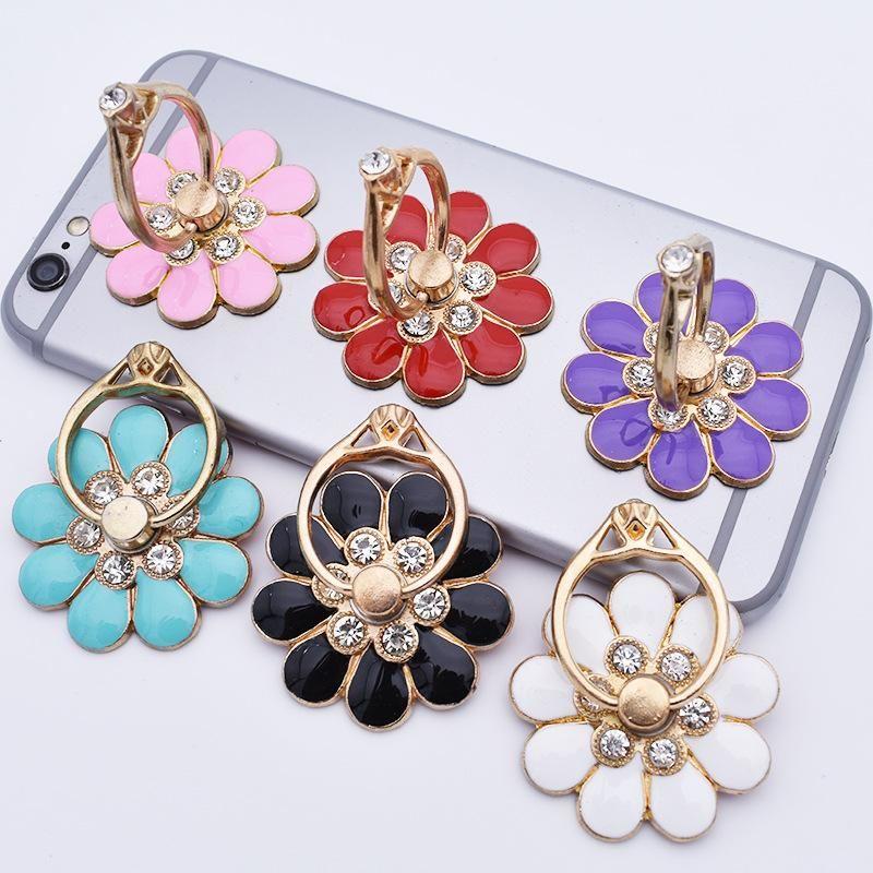 Цветок мобильного телефона кронштейн металл алмаз 360 градусов вращающегося мобильного телефона кольцо пряжка кронштейн маленький цветок телефон Держатели тина