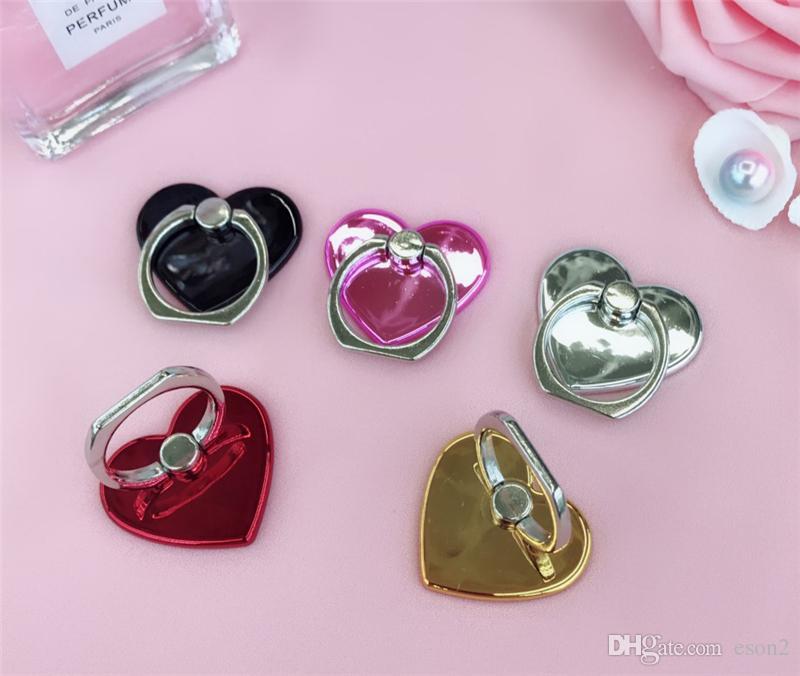 New Love Heart Shaped Dedo Titular Anel Titular Mobile Phone Anel Bracket Moblie titular Anel telefone estar fácil de Telefone da preensão