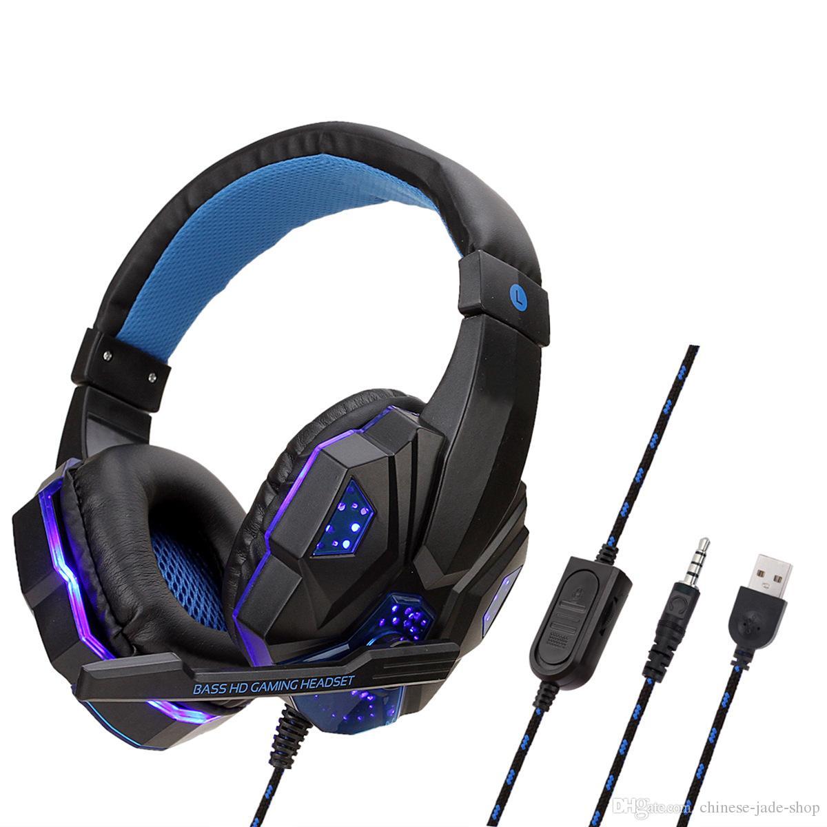 Soyto SY830MV Comprimento Ajustável 3.5mm USB Surround Stereo PARA PS4 XBOX ONE Gaming Headset Headband Fone De Ouvido levou 10 PÇS / LOTE