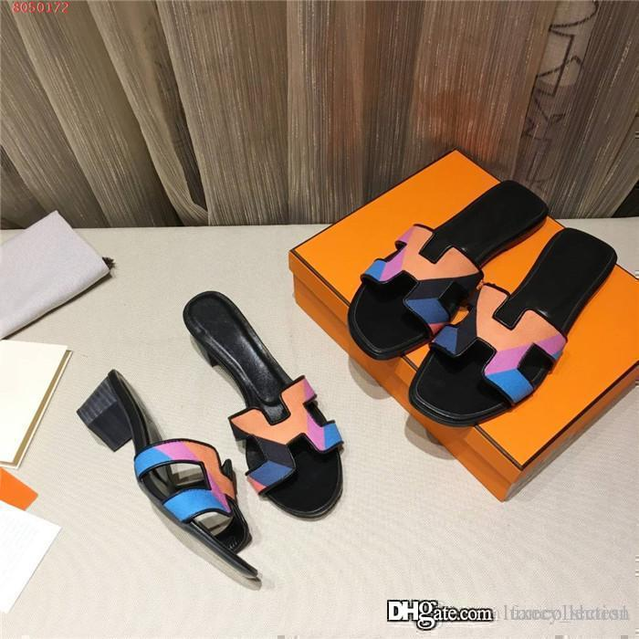 Spring and summer 2020 new color flat flat flip-flops round head non-slip wear casual flip-flops thick heel heel sandals Matching Packing