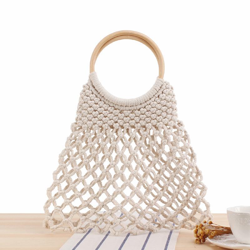 Летняя Богемия тканые ручной работы пляж 2020 Lovevok сумки хлопчатобумажные женские женщины для деревянные сумки верхняя ручка веревка с сумочками euxgp iinnf