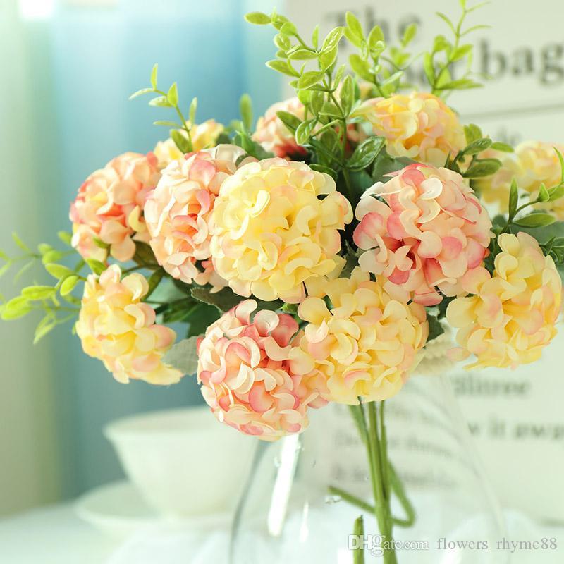 Flores de hortênsia Flores Artificiais Bola Monte Flores Falsas Hortênsia De seda Faux bouquet Casa Centrais Do Casamento Decoração Buquê de Mesa