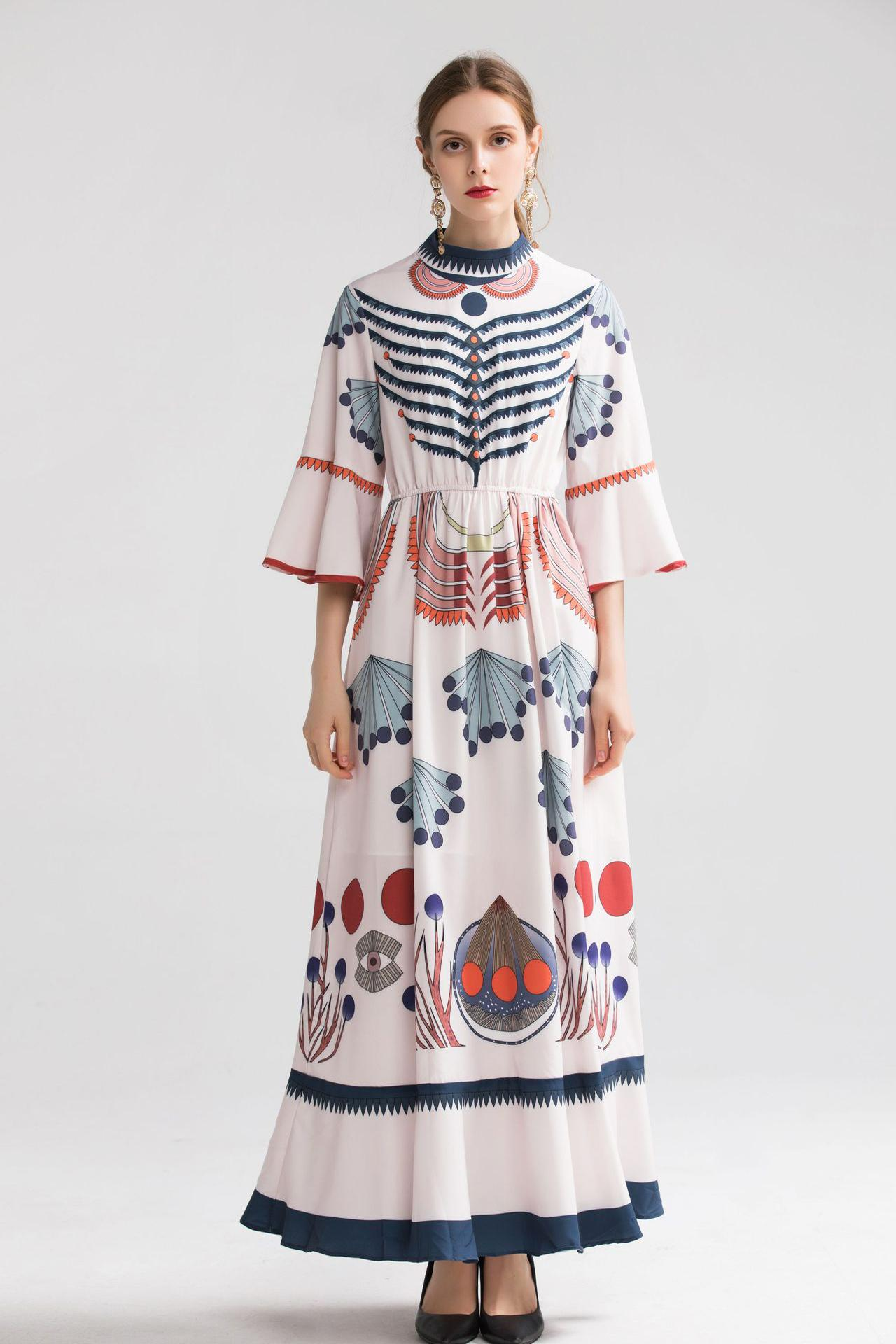 2020 Summer Desinge New Arrival 2019 Women's O Neck Flare Sleeves Printed Ruffles High Street Fashion Casual Long Dresses
