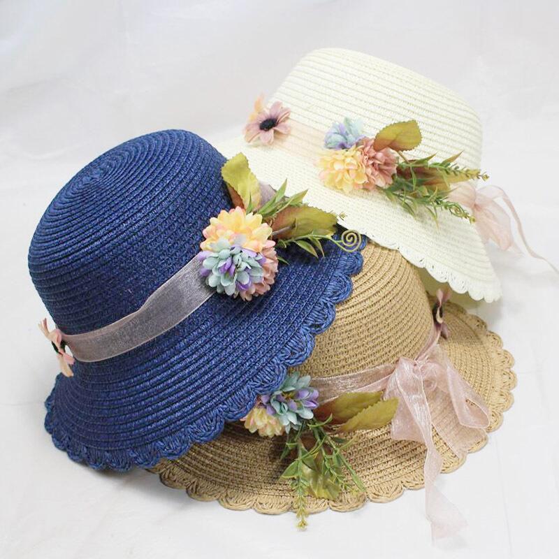 Summer Tea Party Hats Women Floppy Foldable Cap Flowers Beach Straw Sun Hats Female Wide Brim Sunhat Flat Cap Chapeau